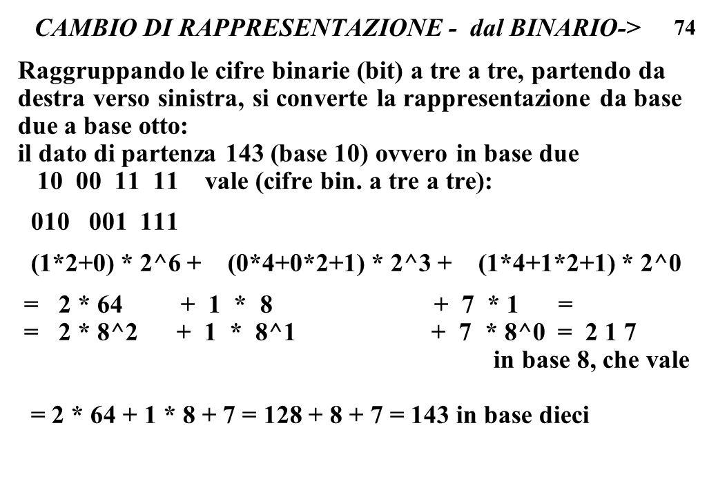 74 CAMBIO DI RAPPRESENTAZIONE - dal BINARIO-> Raggruppando le cifre binarie (bit) a tre a tre, partendo da destra verso sinistra, si converte la rappr