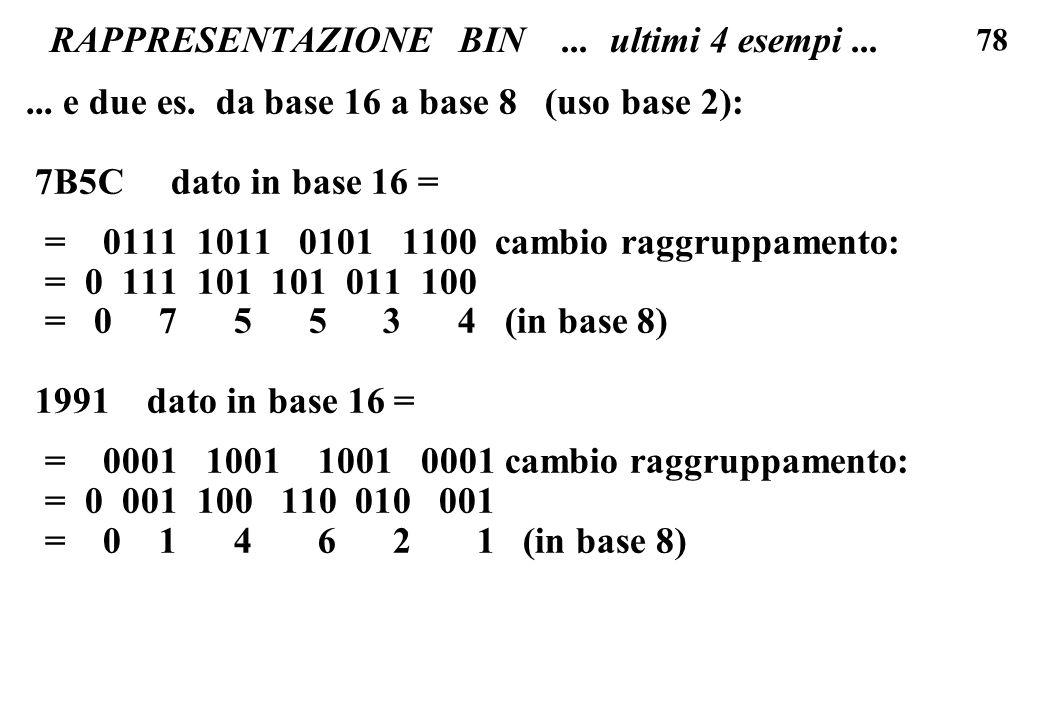 78 RAPPRESENTAZIONE BIN... ultimi 4 esempi...... e due es. da base 16 a base 8 (uso base 2): 7B5C dato in base 16 = = 0111 1011 0101 1100 cambio raggr