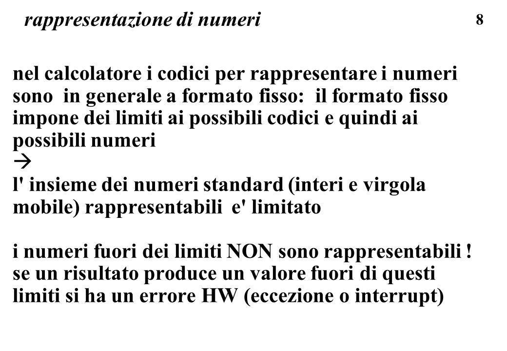 139 numeri con segno, complemento a uno: riassumendo, la codifica dei numeri con segno in complemento a uno (num.negativi rappresentati dal codice dei numeri positivi complementando i bit uno a uno) e un codice consistente con le operazioni aritmetiche, e e un codice simmetrico rispetto lo zero: +6 codice 0 110 -6 codice 1 001 due zeri: 0 000 -0 codice 1 000 limiti simmetrici, per positivi e per negativi, da 0 a (2^(n-1)) -1, con n=4 bit il limite e (2^3-1) cioe : +7 0 111 -7 codice 1 111