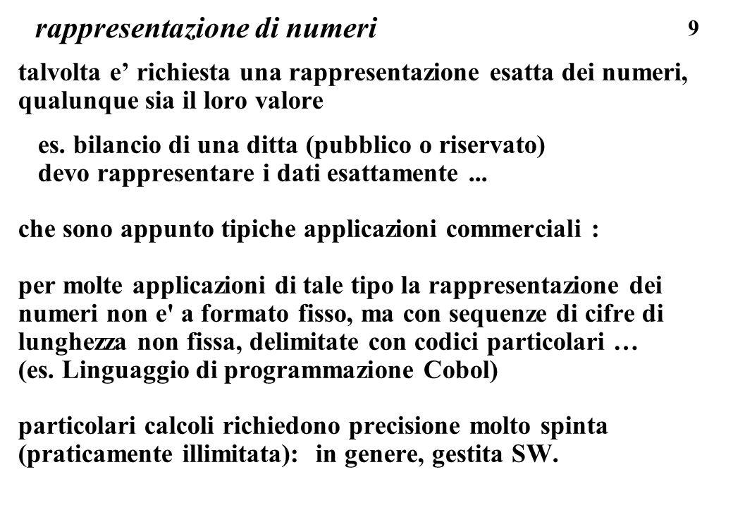 120 RAPPRESENTAZIONE DI NUMERI CON SEGNO con 3 bit rappresento 8 oggetti diversi, (ad esempio con 3 bit posso contare fino a 7, quindi rappresento otto numeri da 0 a 9); finora abbiamo visto la codifica per numeri senza segno, ma posso rappresentare con gli stessi codici anche numeri negativi, di solito si associa la meta dei codici ai numeri positivi, e meta dei codici ai numeri negativi: ad esempio con 2 bit ho: 00 = 0 01 = 1 10 = 2 11 = 3 oppure00 = 0 01 = 1 10 = -1 11 = -1
