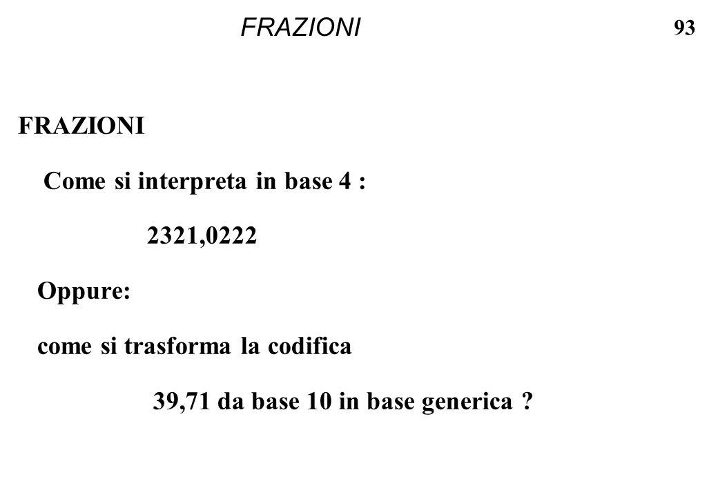 93 FRAZIONI Come si interpreta in base 4 : 2321,0222 Oppure: come si trasforma la codifica 39,71 da base 10 in base generica ?