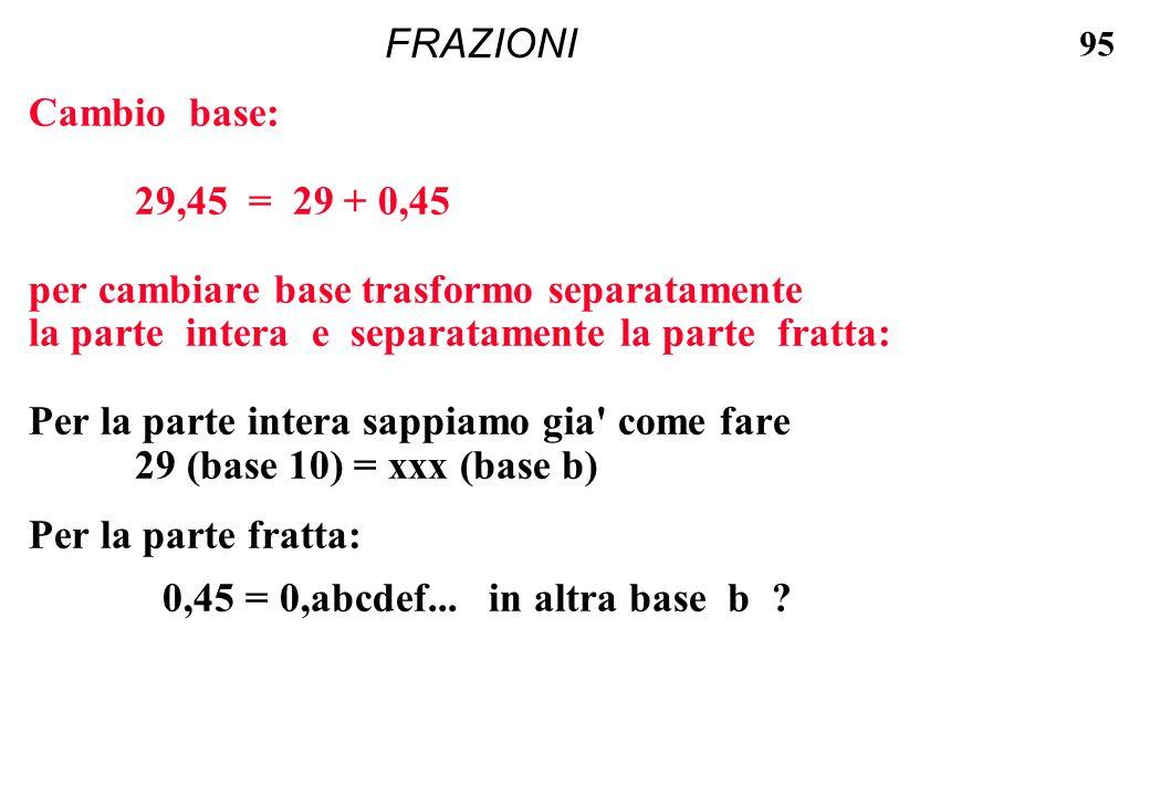 95 FRAZIONI Cambio base: 29,45 = 29 + 0,45 per cambiare base trasformo separatamente la parte intera e separatamente la parte fratta: Per la parte int