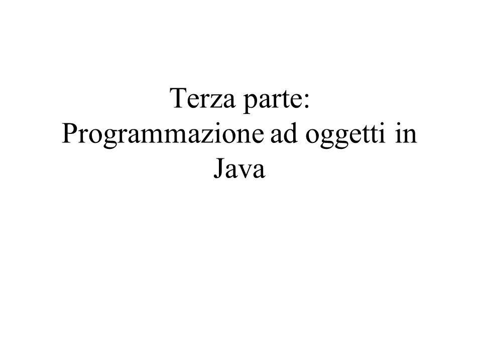 Cosè Java Linguaggio di programmazione definito dalla Sun Obiettivo: sviluppo di applicazioni sicure, efficienti, robuste, su piattaforme multiple, in reti eterogenee e distribuite Linguaggio semplice e orientato agli oggetti Interpretato: produce codice intermedio (byte-code) per una Java Virtual machine: Portabile su diverse piattaforme Architetturalmente neutro: –Byte-code indipendente dalla architettura hardware –Il byte-code puo eseguire su un sistema che abbia un ambiente run- time Java Robustezza: controlli estesi in compilazione e run-time Codice sorgente compilatore Byte code Interprete