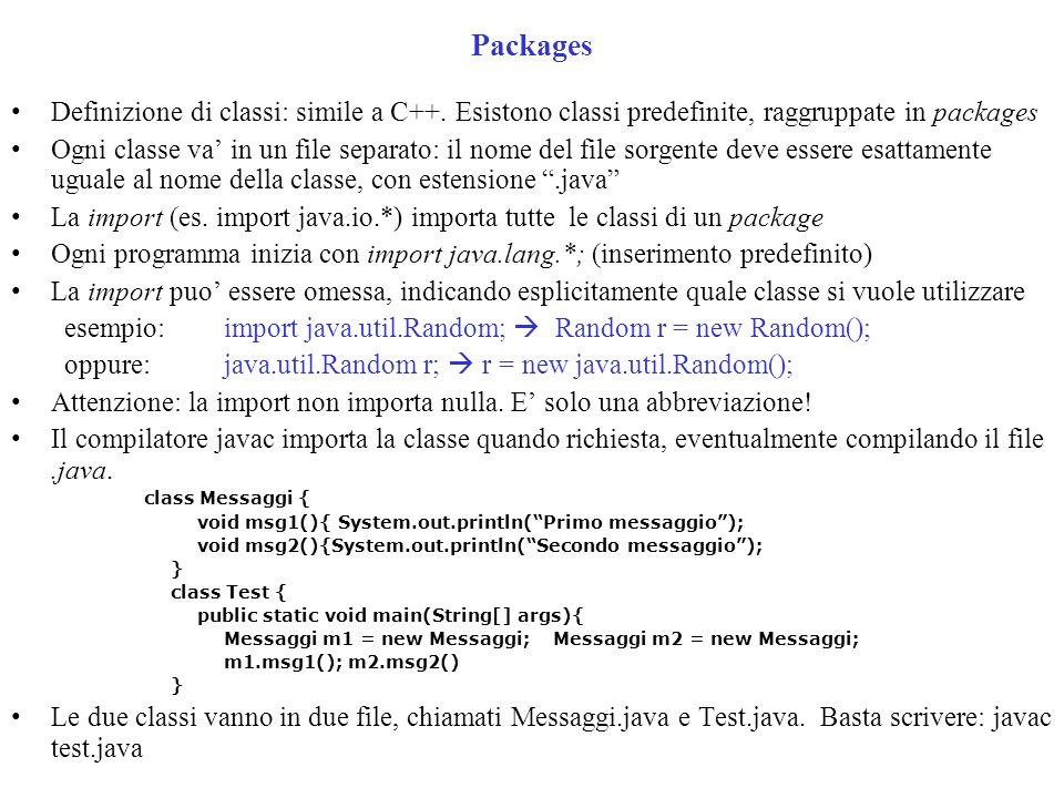 Packages Definizione di classi: simile a C++.
