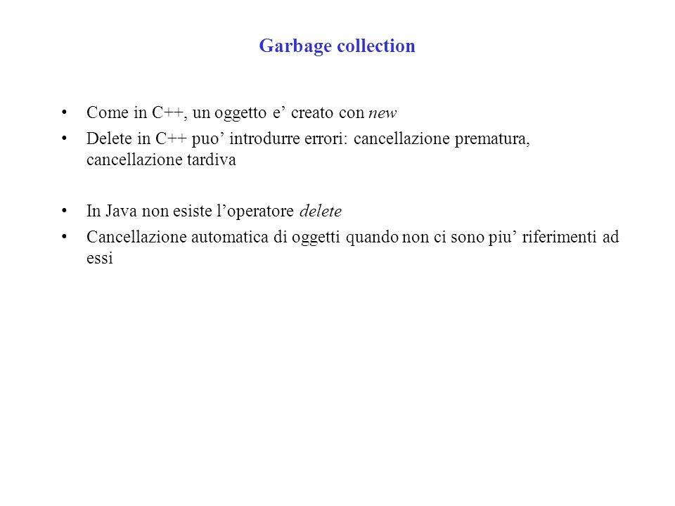 Garbage collection Come in C++, un oggetto e creato con new Delete in C++ puo introdurre errori: cancellazione prematura, cancellazione tardiva In Java non esiste loperatore delete Cancellazione automatica di oggetti quando non ci sono piu riferimenti ad essi