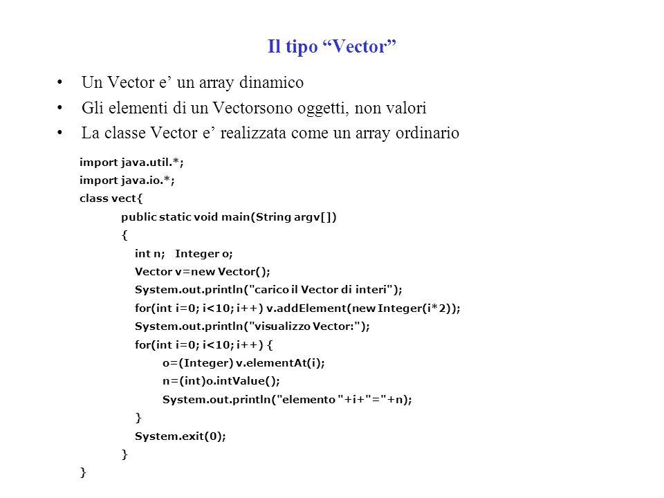 Il tipo Vector Un Vector e un array dinamico Gli elementi di un Vectorsono oggetti, non valori La classe Vector e realizzata come un array ordinario import java.util.*; import java.io.*; class vect{ public static void main(String argv[]) { int n; Integer o; Vector v=new Vector(); System.out.println( carico il Vector di interi ); for(int i=0; i<10; i++) v.addElement(new Integer(i*2)); System.out.println( visualizzo Vector: ); for(int i=0; i<10; i++) { o=(Integer) v.elementAt(i); n=(int)o.intValue(); System.out.println( elemento +i+ = +n); } System.exit(0); }