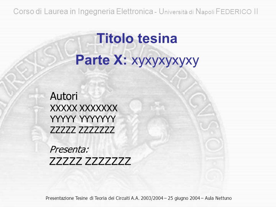 Corso di Laurea in Ingegneria Elettronica - U niversità di N apoli F EDERICO II Autori XXXXX XXXXXXX YYYYY YYYYYYY ZZZZZ ZZZZZZZ Titolo tesina Parte X: xyxyxyxyxy Presentazione Tesine di Teoria dei Circuiti A.A.