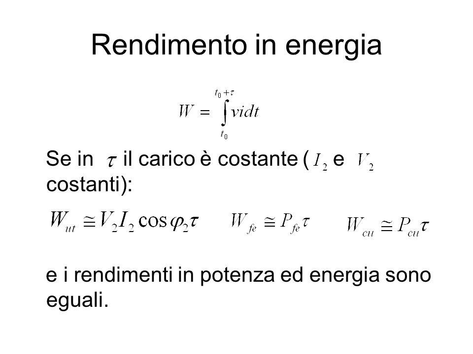 Rendimento in energia Se in il carico è costante ( e costanti): e i rendimenti in potenza ed energia sono eguali.
