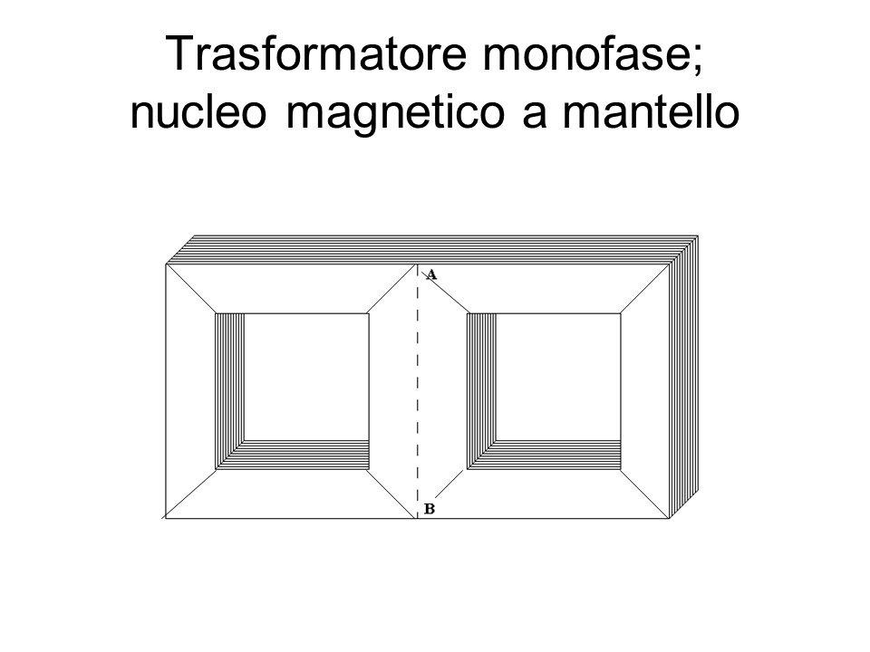 Trasformatore monofase; nucleo magnetico a mantello