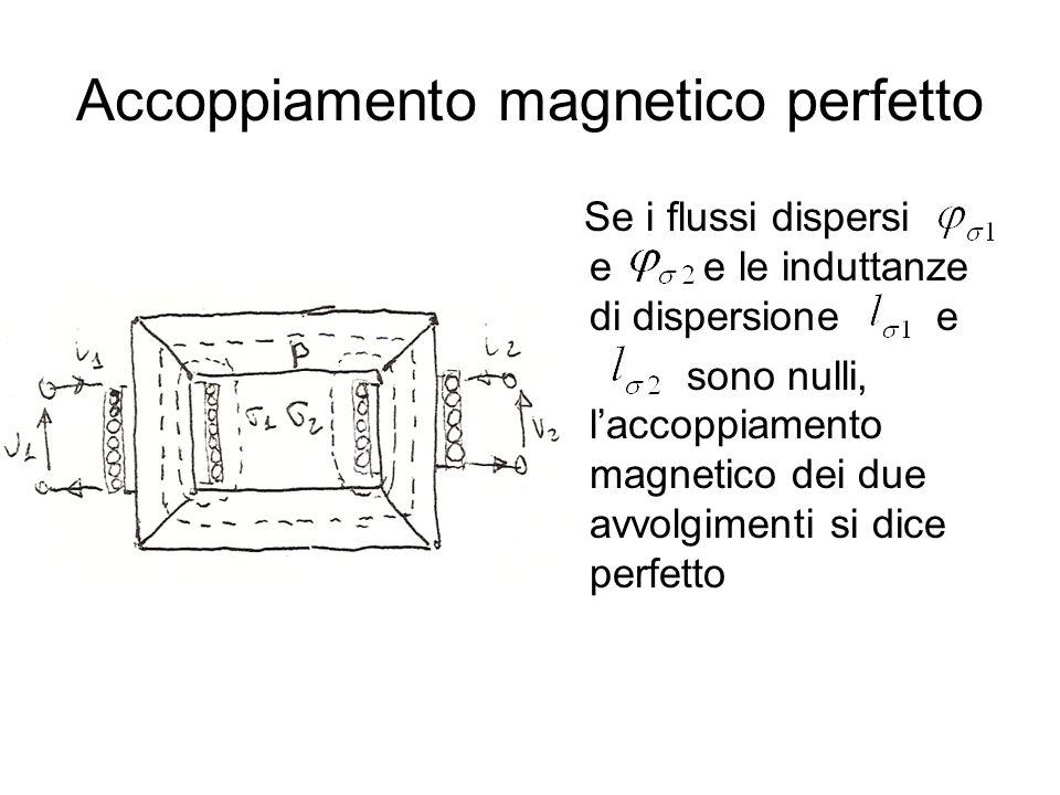 Accoppiamento magnetico perfetto Se i flussi dispersi e e le induttanze di dispersione e sono nulli, laccoppiamento magnetico dei due avvolgimenti si