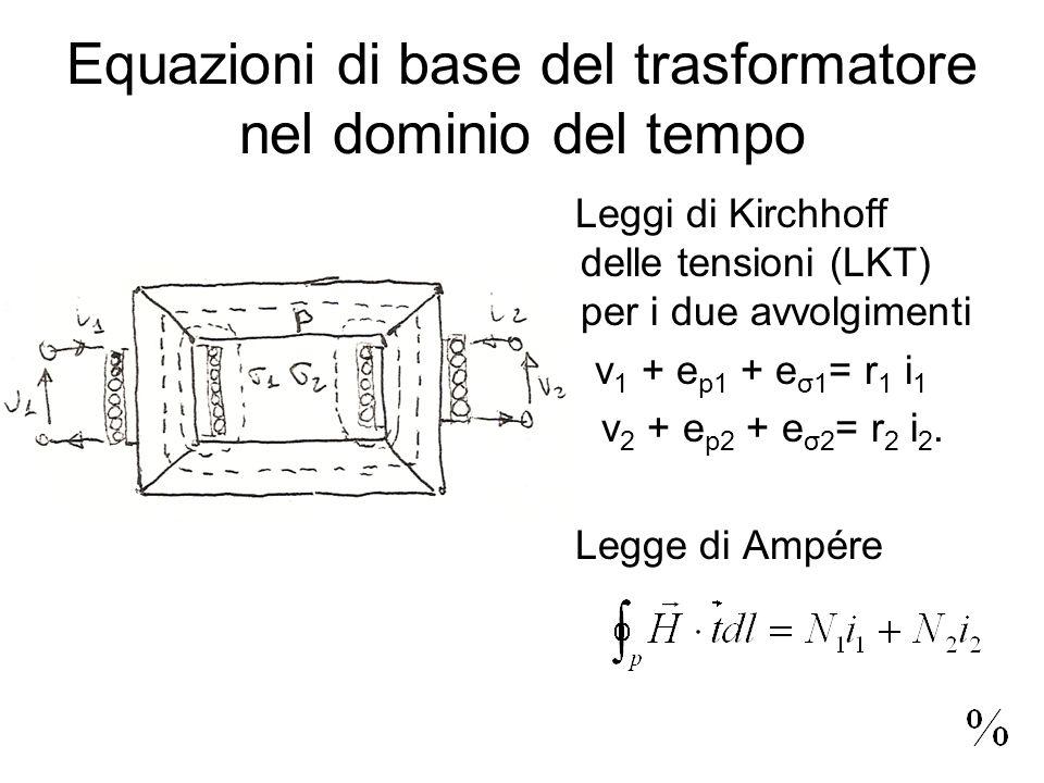 Equazioni di base del trasformatore nel dominio del tempo Leggi di Kirchhoff delle tensioni (LKT) per i due avvolgimenti v 1 + e p1 + e σ1 = r 1 i 1 v