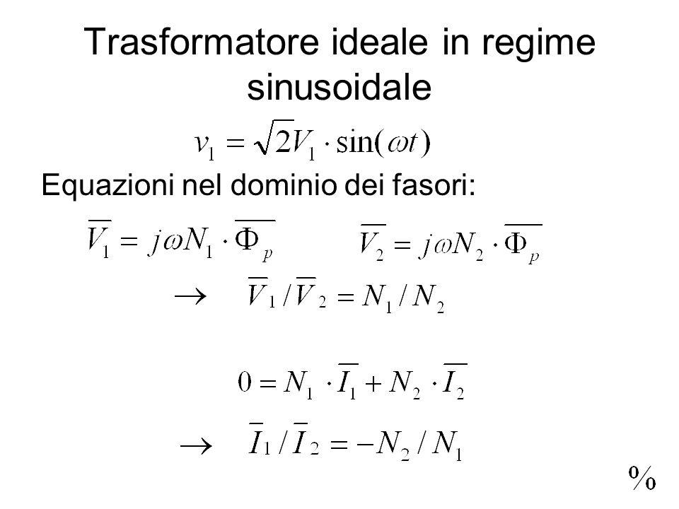 Trasformatore ideale in regime sinusoidale Equazioni nel dominio dei fasori: