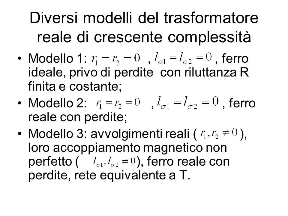 Diversi modelli del trasformatore reale di crescente complessità Modello 1:,, ferro ideale, privo di perdite con riluttanza R finita e costante; Model