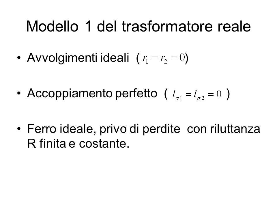 Modello 1 del trasformatore reale Avvolgimenti ideali ( ) Accoppiamento perfetto ( ) Ferro ideale, privo di perdite con riluttanza R finita e costante