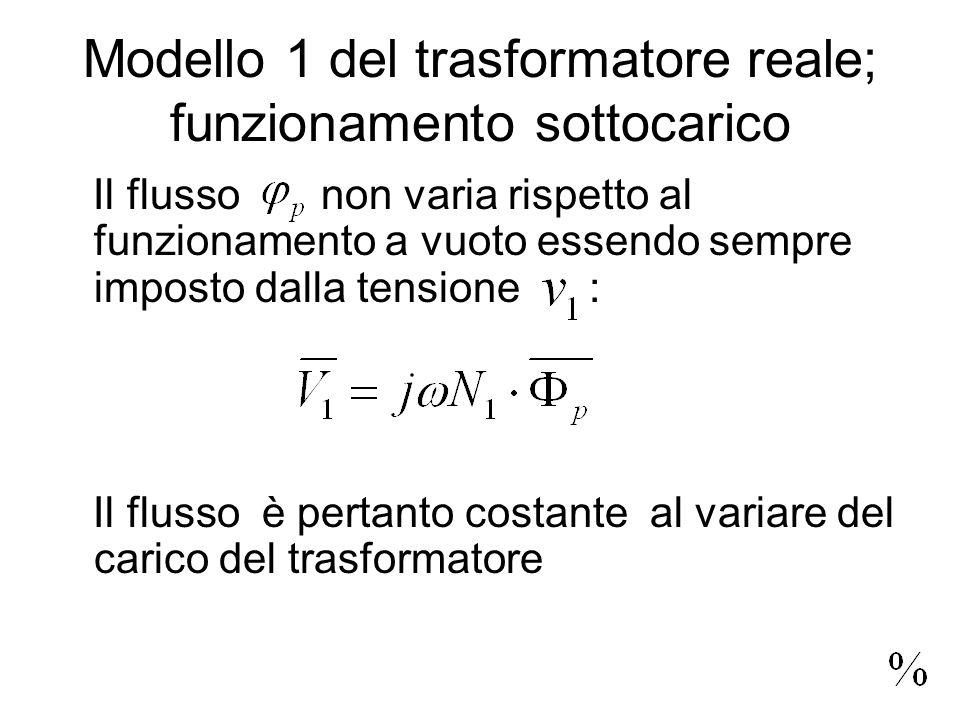 Modello 1 del trasformatore reale; funzionamento sottocarico Il flusso non varia rispetto al funzionamento a vuoto essendo sempre imposto dalla tensio