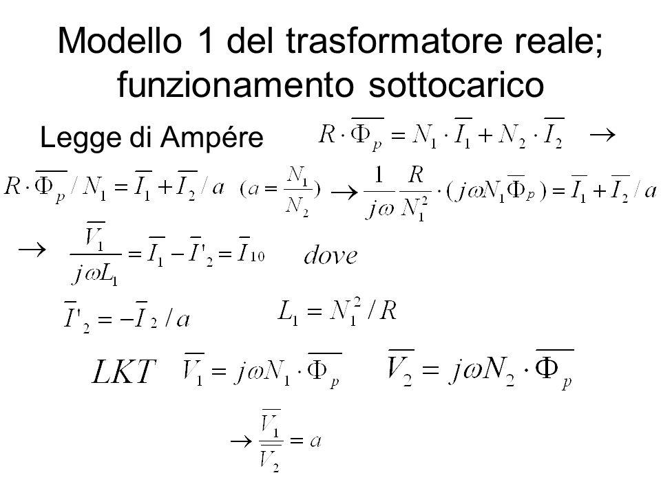 Modello 1 del trasformatore reale; funzionamento sottocarico Legge di Ampére