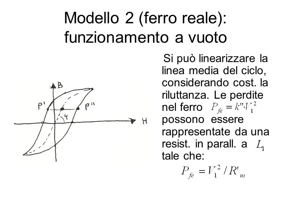Modello 2 (ferro reale): funzionamento a vuoto Si può linearizzare la linea media del ciclo, considerando cost. la riluttanza. Le perdite nel ferro po