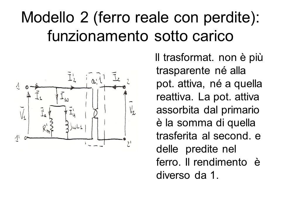 Modello 2 (ferro reale con perdite): funzionamento sotto carico Il trasformat. non è più trasparente né alla pot. attiva, né a quella reattiva. La pot