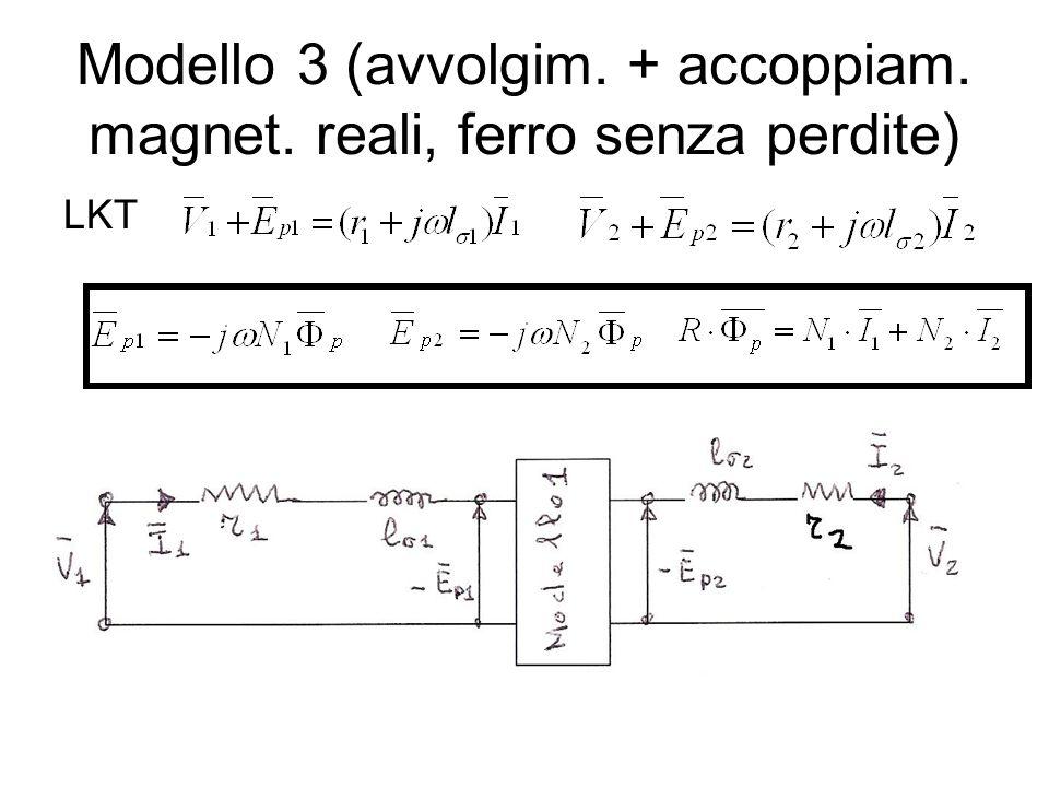 Modello 3 (avvolgim. + accoppiam. magnet. reali, ferro senza perdite) LKT