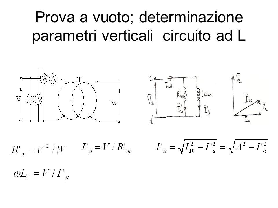 Prova a vuoto; determinazione parametri verticali circuito ad L