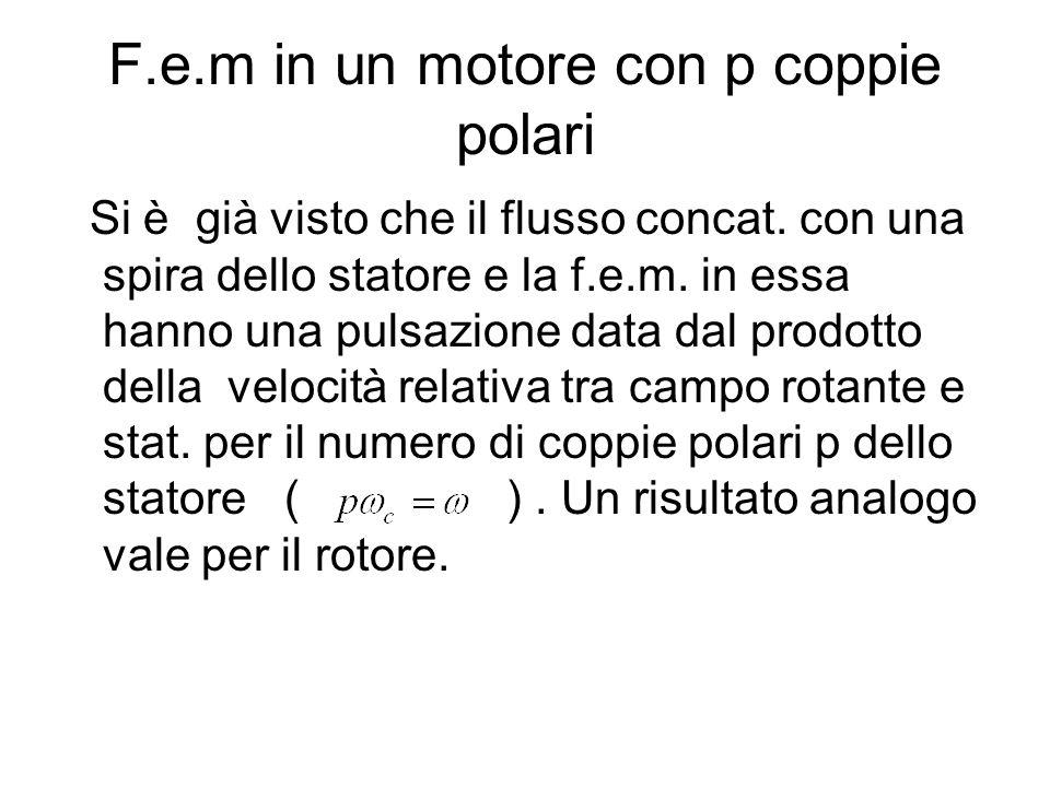 F.e.m in un motore con p coppie polari Si è già visto che il flusso concat. con una spira dello statore e la f.e.m. in essa hanno una pulsazione data