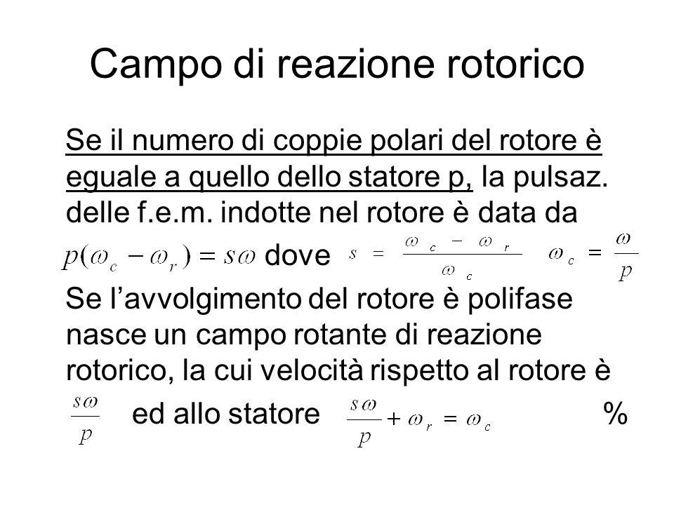 Campo di reazione rotorico Se il numero di coppie polari del rotore è eguale a quello dello statore p, la pulsaz. delle f.e.m. indotte nel rotore è da