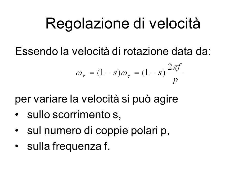 Regolazione di velocità Essendo la velocità di rotazione data da: per variare la velocità si può agire sullo scorrimento s, sul numero di coppie polar