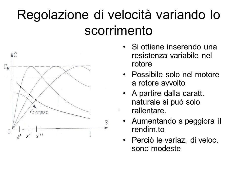 Regolazione di velocità variando lo scorrimento Si ottiene inserendo una resistenza variabile nel rotore Possibile solo nel motore a rotore avvolto A