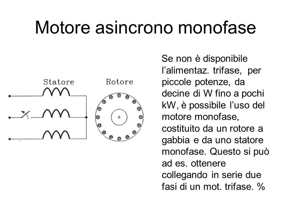 Motore asincrono monofase Se non è disponibile lalimentaz. trifase, per piccole potenze, da decine di W fino a pochi kW, è possibile luso del motore m