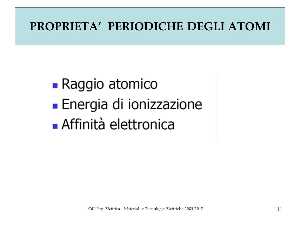 CdL Ing. Elettrica - Materiali e Tecnologie Elettriche 2009/10 -II- 11 PROPRIETA PERIODICHE DEGLI ATOMI