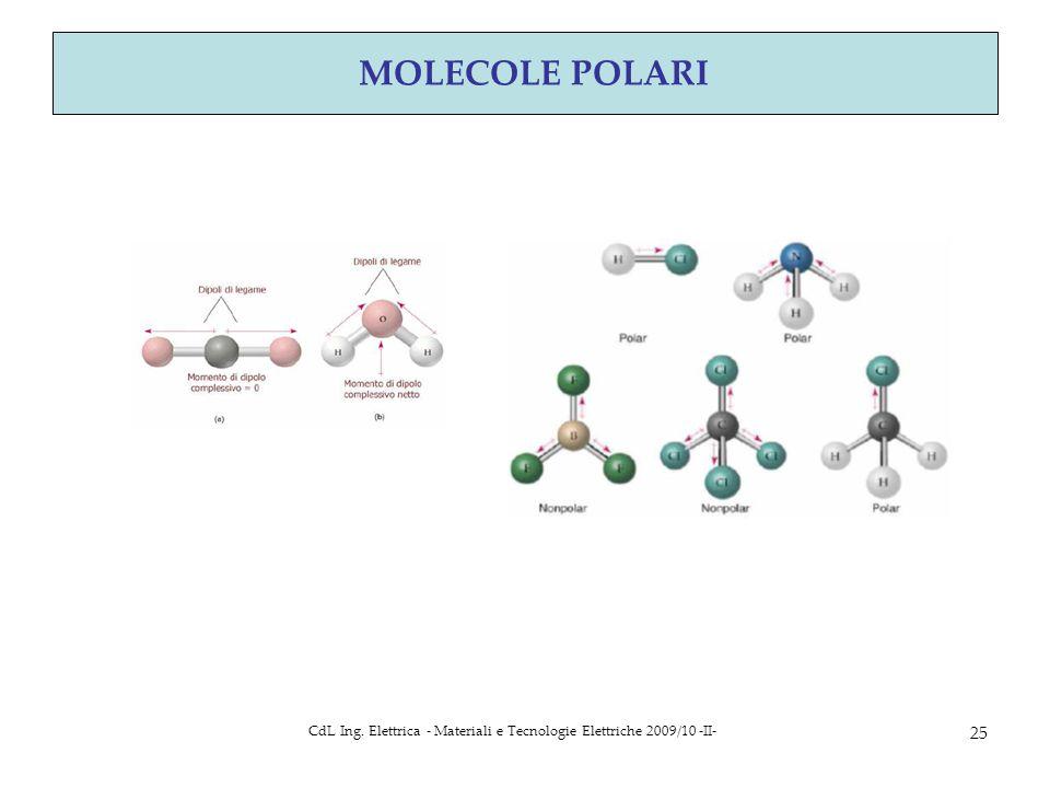 CdL Ing. Elettrica - Materiali e Tecnologie Elettriche 2009/10 -II- 25 MOLECOLE POLARI
