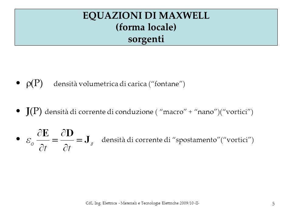 CdL Ing. Elettrica - Materiali e Tecnologie Elettriche 2009/10 -II- 5 Parte 4 a EQUAZIONI DI MAXWELL (forma locale) sorgenti (P) densità volumetrica d