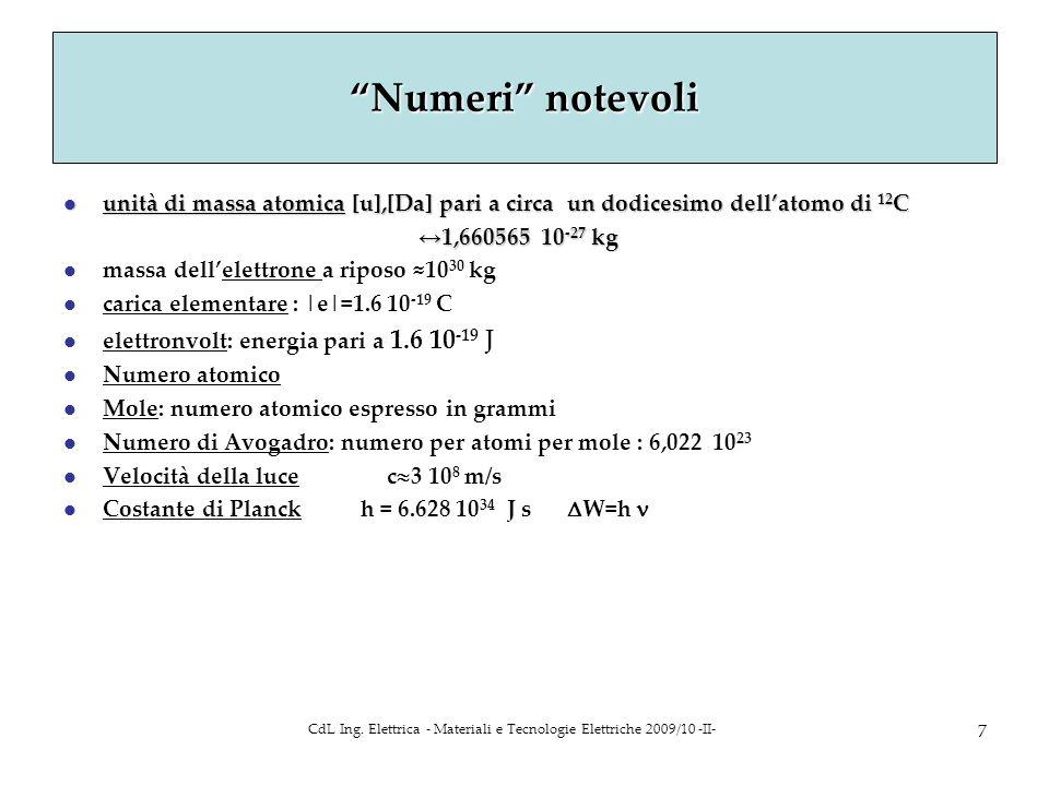 CdL Ing. Elettrica - Materiali e Tecnologie Elettriche 2009/10 -II- 7 Numeri notevoli l unità di massa atomica [u],[Da] pari a circa un dodicesimo del