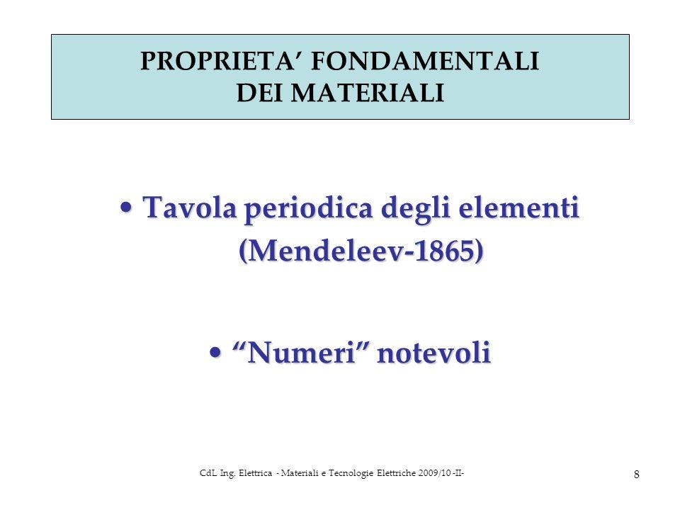 CdL Ing. Elettrica - Materiali e Tecnologie Elettriche 2009/10 -II- 8 PROPRIETA FONDAMENTALI DEI MATERIALI Tavola periodica degli elementi (Mendeleev-