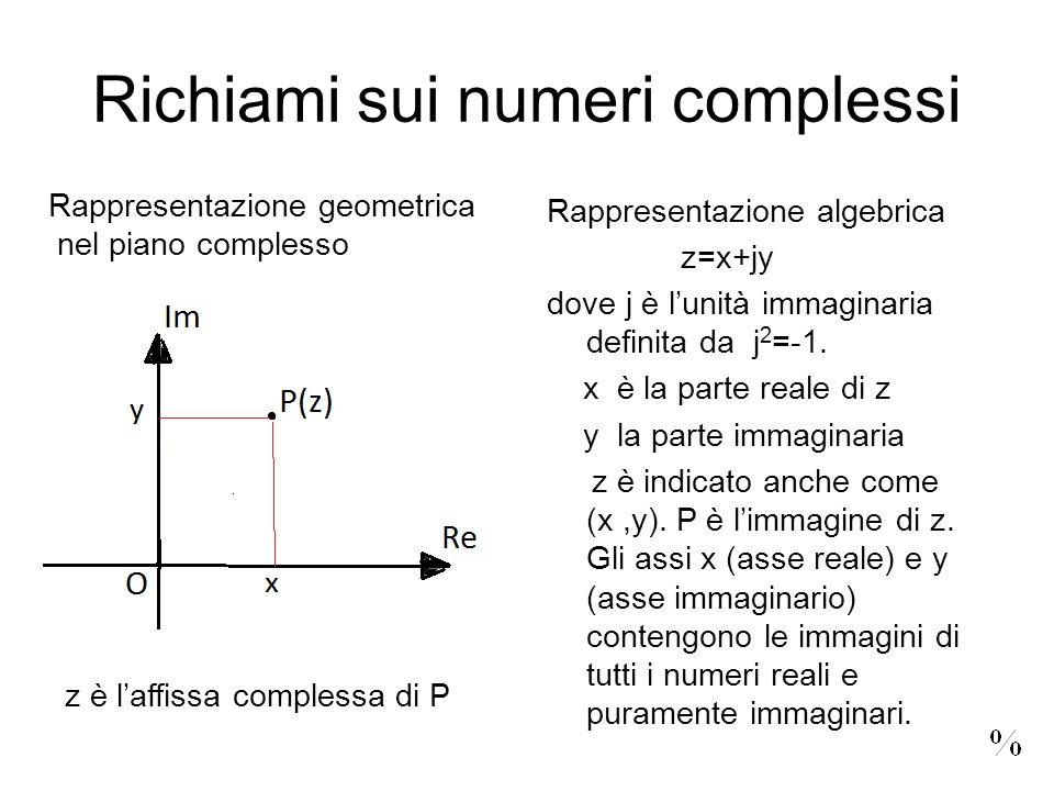 Richiami sui numeri complessi Rappresentazione algebrica z=x+jy dove j è lunità immaginaria definita da j 2 =-1. x è la parte reale di z y la parte im