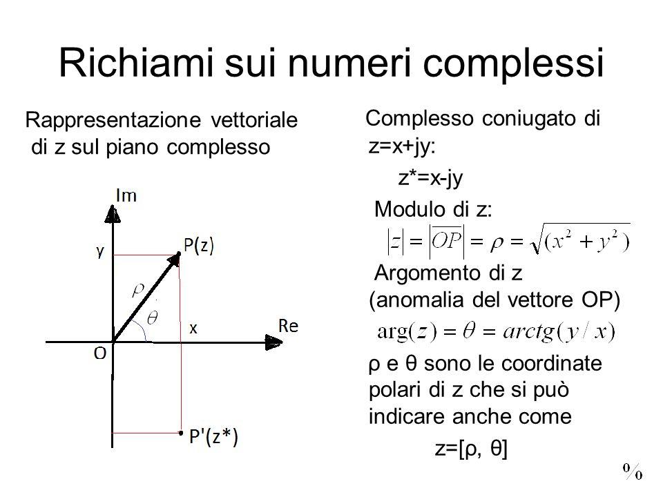 Richiami sui numeri complessi Complesso coniugato di z=x+jy: z*=x-jy Modulo di z: Argomento di z (anomalia del vettore OP) ρ e θ sono le coordinate polari di z che si può indicare anche come z=[ρ, θ] Rappresentazione vettoriale di z sul piano complesso