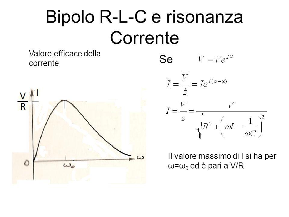 Bipolo R-L-C e risonanza Corrente Se Valore efficace della corrente Il valore massimo di I si ha per ω=ω 0 ed è pari a V/R