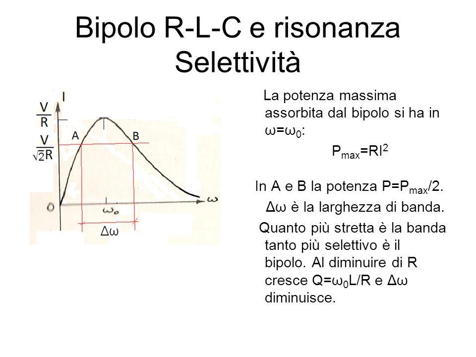 Bipolo R-L-C e risonanza Selettività La potenza massima assorbita dal bipolo si ha in ω=ω 0 : P max =RI 2 In A e B la potenza P=P max /2. Δω è la larg