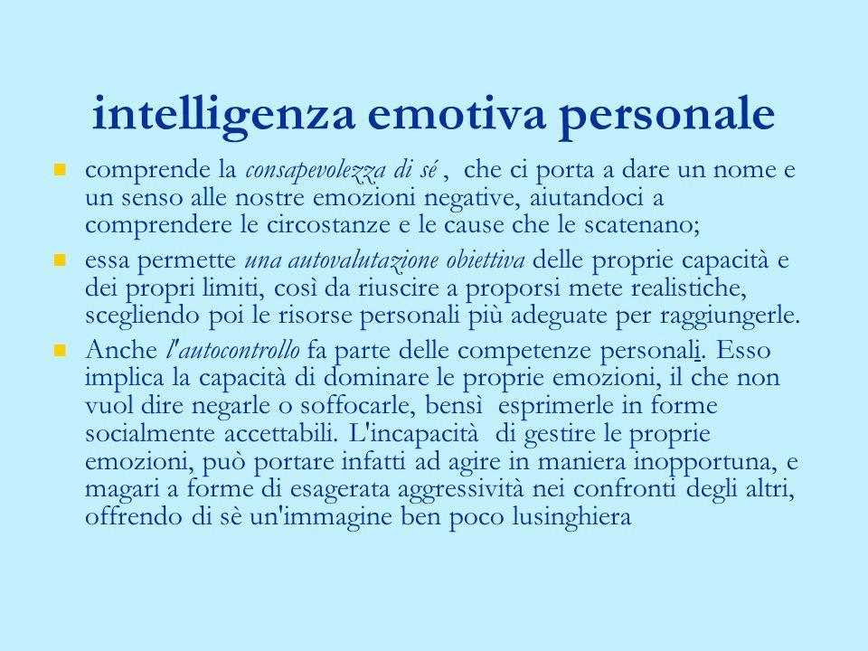 1. Le competenze personali, riferite alla capacità di cogliere i diversi aspetti della propria vita emozionale; 2. le competenze sociali, relative all