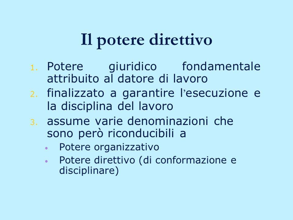 segue: il privato datore di lavoro Il privato datore di lavoro: Soggetto che in virtù di un rapporto contrattuale è legittimato ad esercitare: –Potere direttivo –Potere di vigilanza –Potere disciplinare
