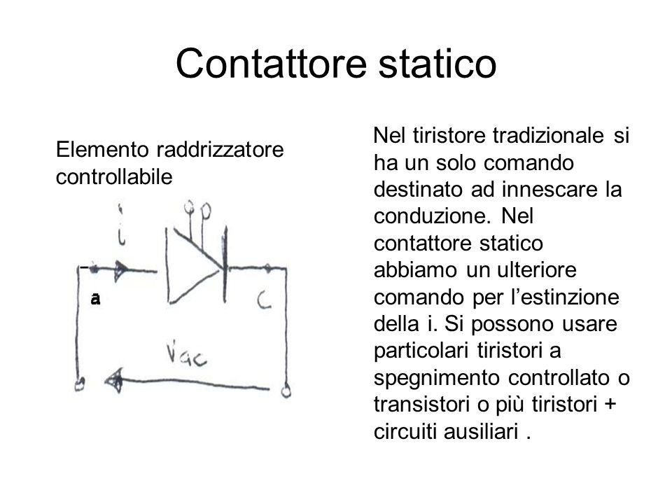Contattore statico Nel tiristore tradizionale si ha un solo comando destinato ad innescare la conduzione. Nel contattore statico abbiamo un ulteriore