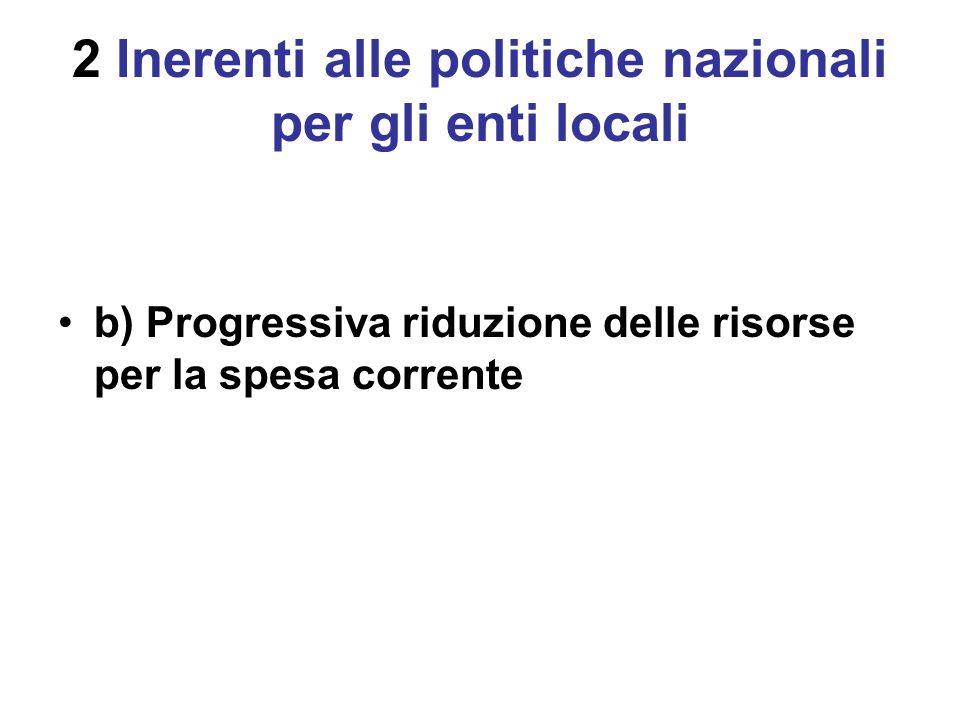 2 Inerenti alle politiche nazionali per gli enti locali b) Progressiva riduzione delle risorse per la spesa corrente