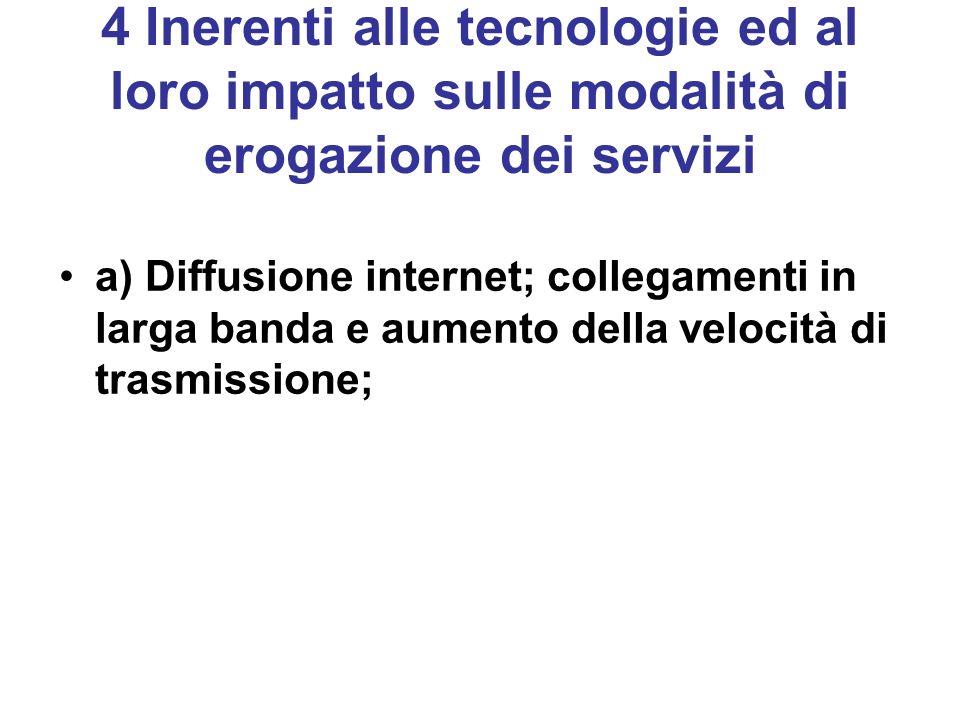 4 Inerenti alle tecnologie ed al loro impatto sulle modalità di erogazione dei servizi a) Diffusione internet; collegamenti in larga banda e aumento della velocità di trasmissione;