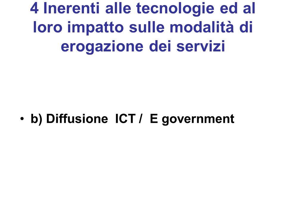 4 Inerenti alle tecnologie ed al loro impatto sulle modalità di erogazione dei servizi b) Diffusione ICT / E government