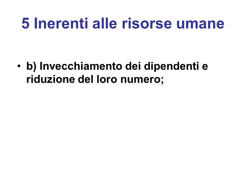 5 Inerenti alle risorse umane b) Invecchiamento dei dipendenti e riduzione del loro numero;
