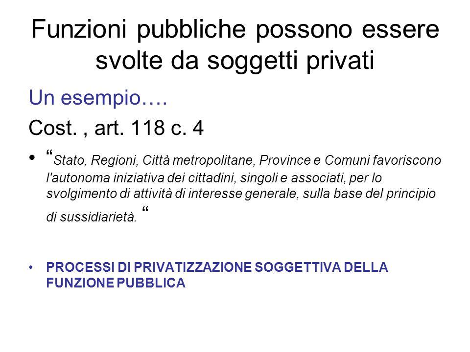 Funzioni pubbliche possono essere svolte da soggetti privati Un esempio….