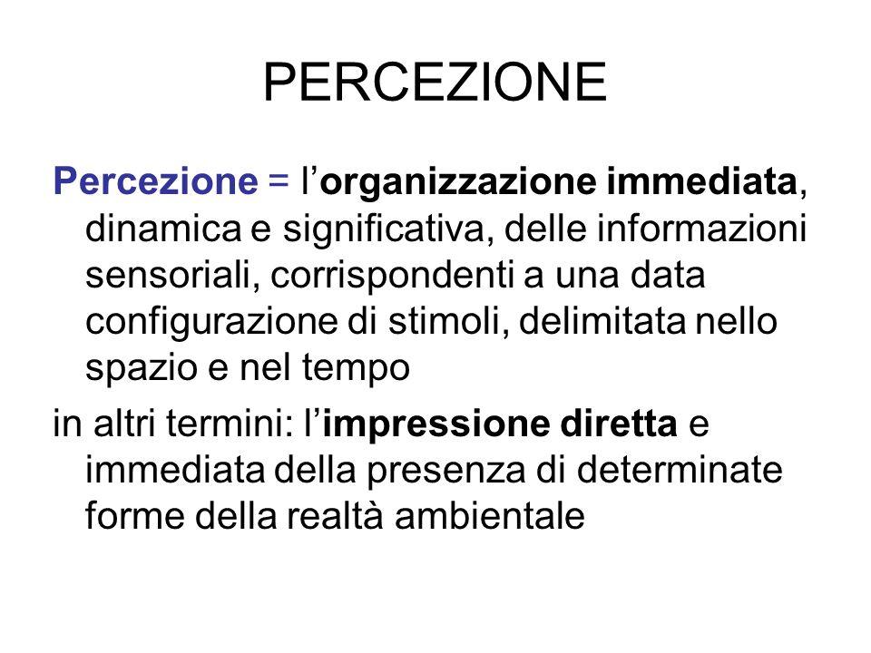PERCEZIONE Percezione = lorganizzazione immediata, dinamica e significativa, delle informazioni sensoriali, corrispondenti a una data configurazione d