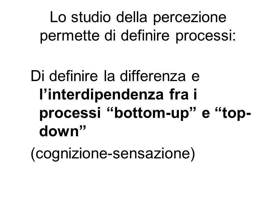 Lo studio della percezione permette di definire processi: Di definire la differenza e linterdipendenza fra i processi bottom-up e top- down (cognizion