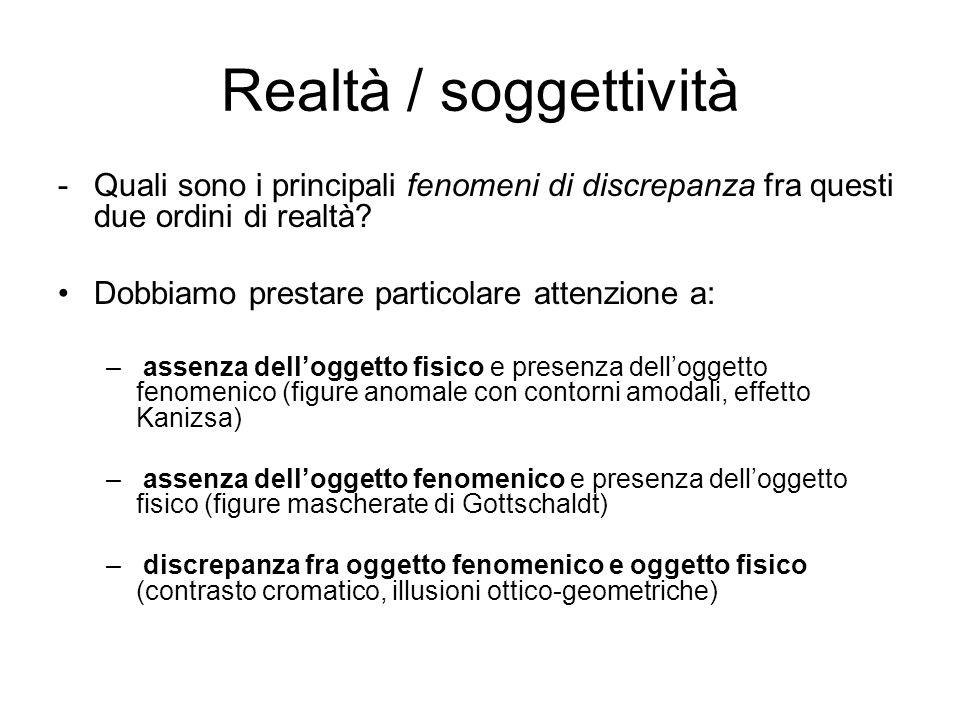 Realtà / soggettività -Quali sono i principali fenomeni di discrepanza fra questi due ordini di realtà? Dobbiamo prestare particolare attenzione a: –