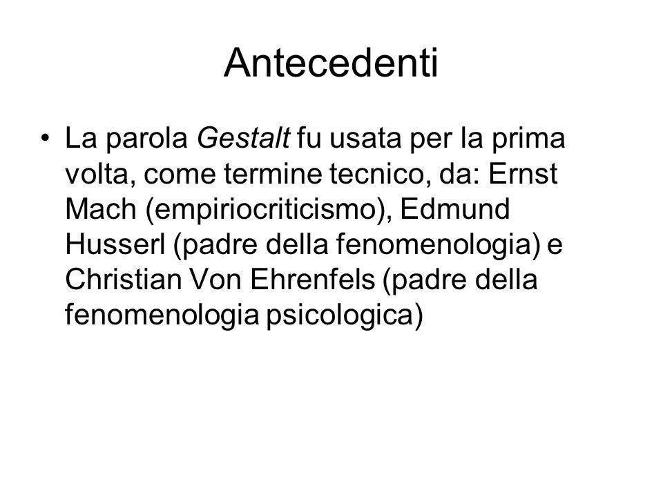 Antecedenti La parola Gestalt fu usata per la prima volta, come termine tecnico, da: Ernst Mach (empiriocriticismo), Edmund Husserl (padre della fenom